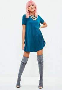 Read more about Blue cross front swing dress blue