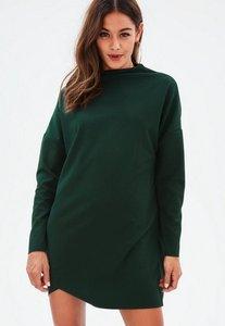 Read more about Green high neck scuba sweater dress green