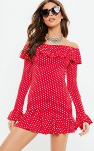 Read more about Red polka dot frill sleeve bardot shift dress red