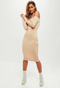 Read more about Nude long sleeve bardot midi dress beige
