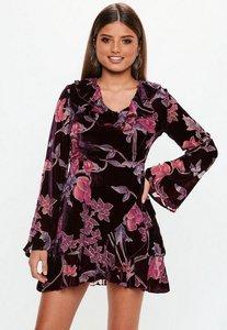 Read more about Dark pink velvet devore ruffle dress pink