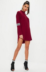 Read more about Burgundy sports trim high neck shift dress red