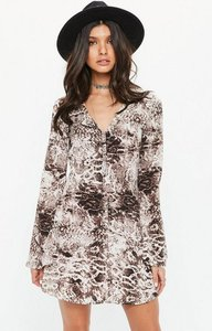 Read more about Brown snake print button down flared sleeve skater dress multi