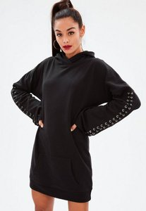 Read more about Black eyelet long sleeve hooded sweater dress black