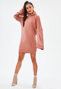 Read more about Pink eyelet long sleeve hooded sweater dress pink