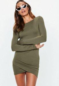 Read more about Khaki green wrap hem bodycon mini dress beige