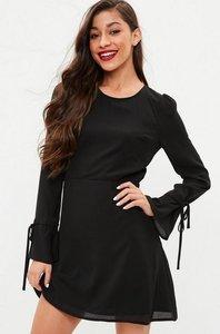 Read more about Black long sleeve open back skater dress black