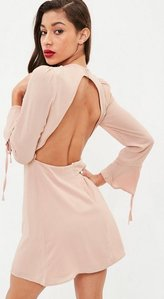 Read more about Nude long sleeve open back skater dress pink