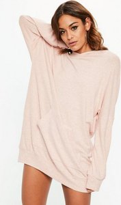 Read more about Pink brushed pocket front hooded sweater dress pink