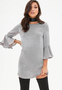 Read more about Silver hammered satin frill sleeve dress grey