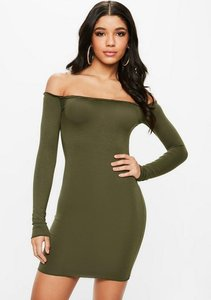 Read more about Khaki frill hem bardot bodycon mini dress beige