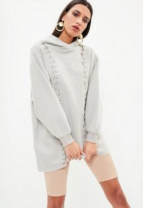 Read more about Grey premium eyelet hooded sweater dress grey