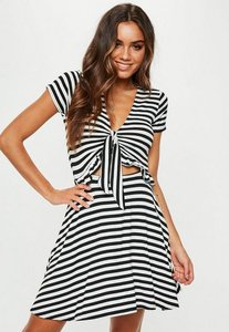 Read more about Black striped jersey short sleeve tie front tea dress white