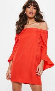 Read more about Orange bardot flared sleeve shift dress orange