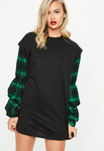 Read more about Black ruched check sleeve sweater dress green