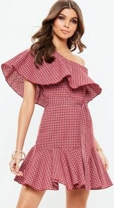 Read more about Red check one shoulder frill dress red