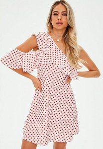 Read more about White polka dot one shoulder frill dress white