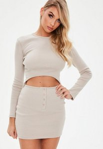 Read more about Camel ribbed long sleeve cut out mini dress grey