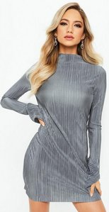 Read more about Silver high neck frill long sleeve plisse dress grey