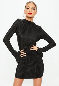 Read more about Black high neck frill long sleeve plisse dress black