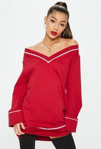 Read more about Red bardot long sleeve sweater dress red