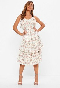 Read more about Cream tiered frill floral midi dress white