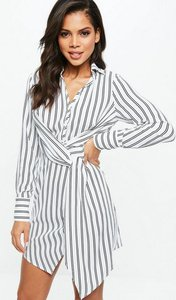 Read more about White asymmetric knot front shirt dress white