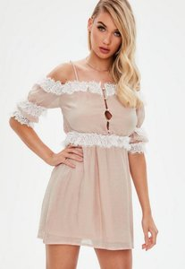Read more about Nude satin lace detail mini dress beige