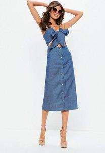 Read more about Blue tie front button down midi dress blue