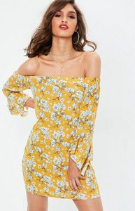 Read more about Mustard yellow bardot flared sleeve shift dress yellow