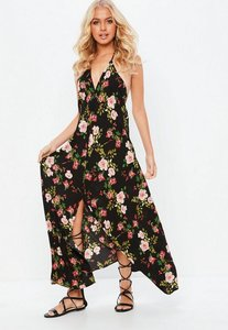 Read more about Black split front floral halterneck maxi dress black