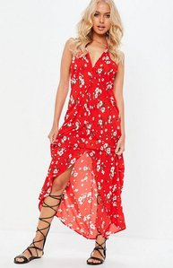 Read more about Red split front floral halterneck maxi dress red