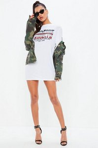 Read more about White oversized long sleeve brooklyn slogan t shirt dress white
