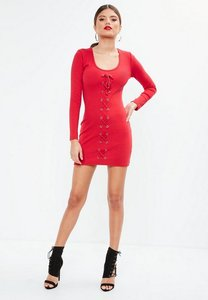 Read more about Red long sleeve ribbed lace up bodycon mini dress red