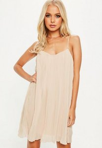 Read more about Nude strappy pleated swing dress beige