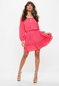 Read more about Pink bardot tassel skater dress pink