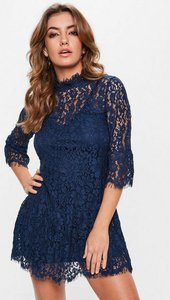 Read more about Navy lace frill high neck shift dress blue