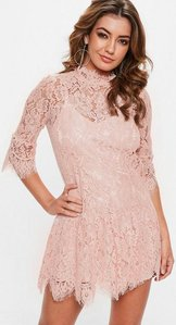 Read more about Rose pink lace frill sleeve high neck shift dress pink