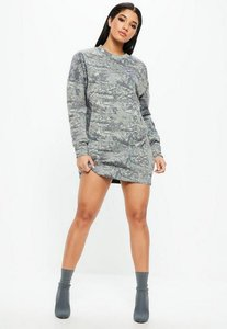 Read more about Grey camo print long sleeve oversized sweater dress green