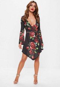 Read more about Black rose print wrap dress black