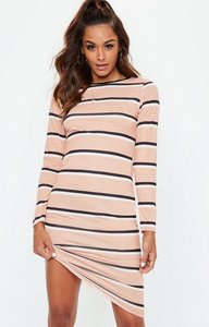 Read more about Pink long sleeve striped bodycon midi dress beige