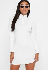Read more about White zip front bodycon mini dress white