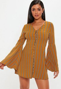 Read more about Mustard flare sleeve button down dress stripe yellow
