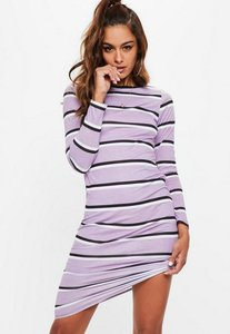 Read more about Purple long sleeve striped bodycon midi dress purple