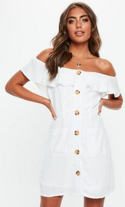 Read more about White bardot frill button front a line dress white