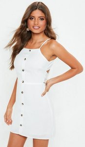 Read more about White strappy button front a line dress white