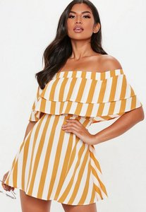 Read more about Mustard overlay stripe frill bardot skater dress yellow