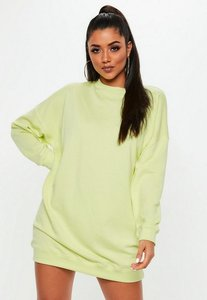 Read more about Lime fluro long sleeve oversized sweater dress green