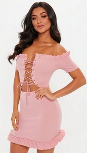 Read more about Pink lace up front mini dress pink