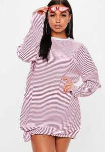 Read more about Red striped long sleeve knot front sweater dress red